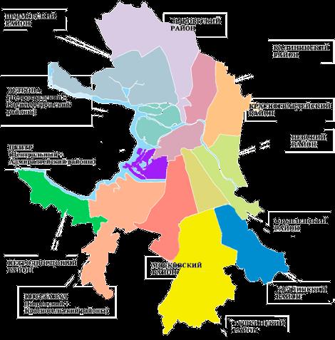 Карта СПБ с отмеченными районами