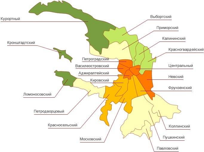 Карта СПБ с районами
