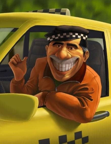 Таксист в такси улыбается во весь рот