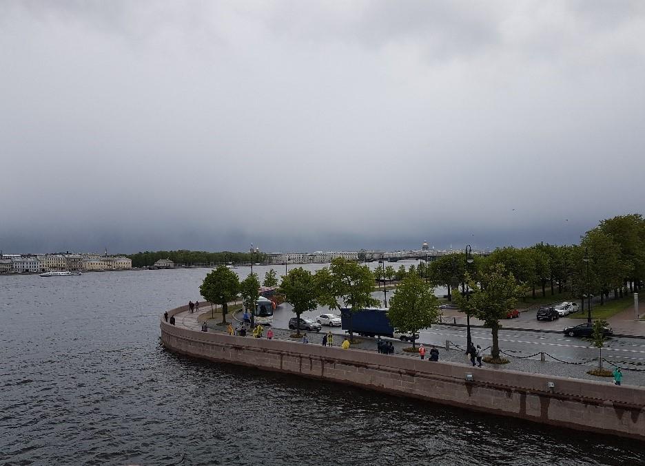 Пасмурное небо над стрелкой Всильевского острова