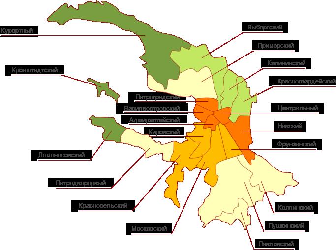 Карта районов СПБ